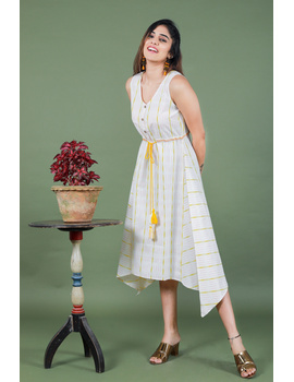 Sleeveless white ikat dress with embroidered belt:LD640A-S-4-sm