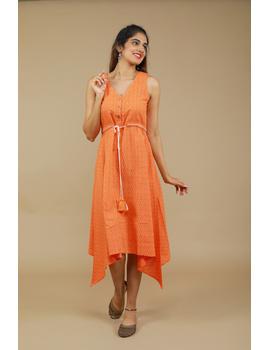 Sleeveless orange  ikat dress with embroidered belt:LD640B-LD640B-S-sm
