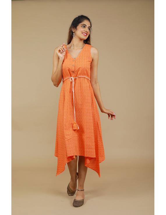 Sleeveless orange  ikat dress with embroidered belt:LD640B-LD640B-S