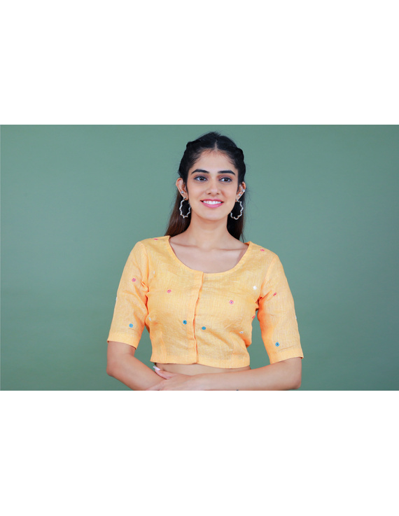 Peach linen blouse with mirror embroidery-RB09A-S-1