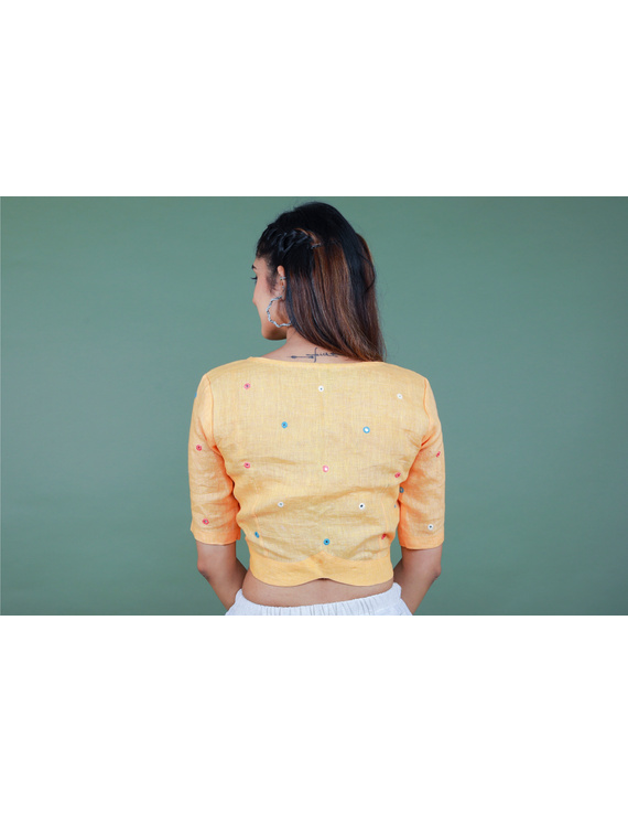 Peach linen blouse with mirror embroidery-RB09A-S-2