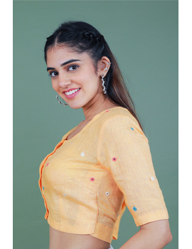 Peach linen blouse with mirror embroidery-RB09A-S-3-sm
