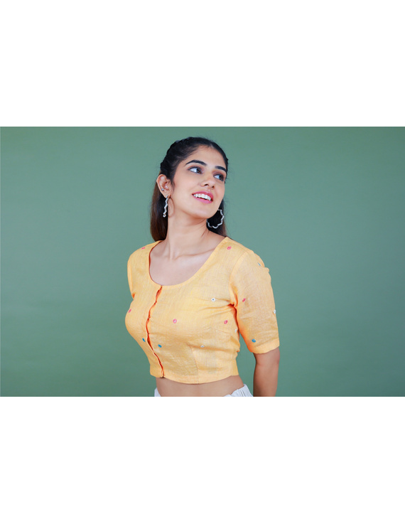 Peach linen blouse with mirror embroidery-RB09A-S-4