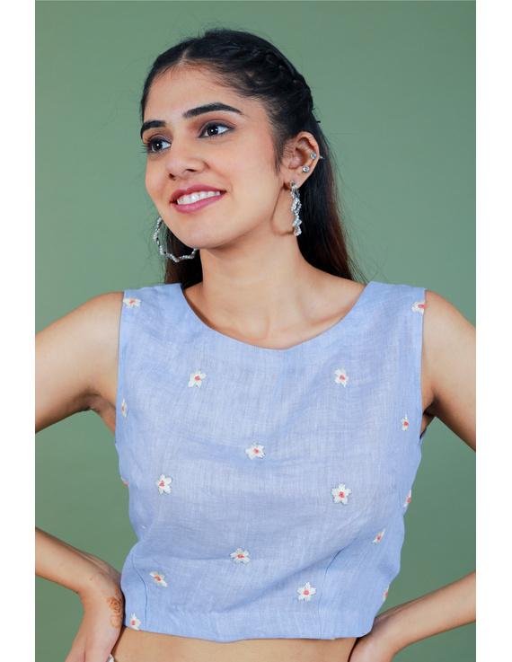 Sleeveless light blue linen blouse with back slit-RB09B-RB09B