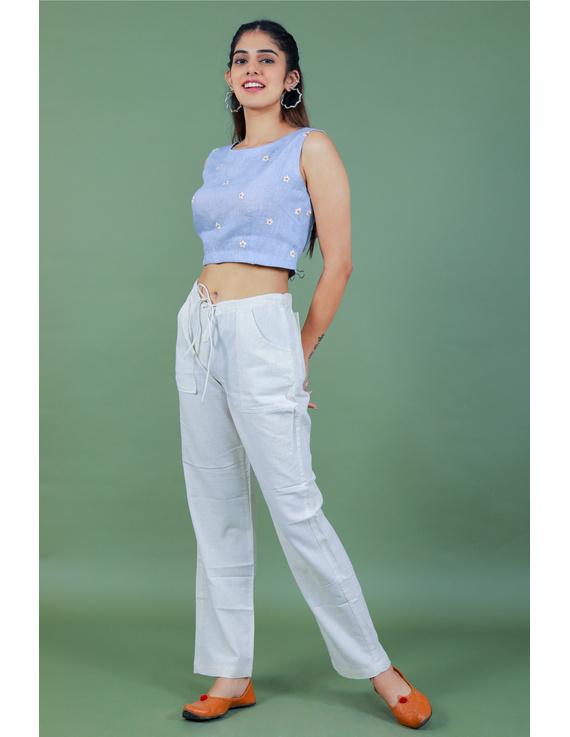 Sleeveless light blue linen blouse with back slit-RB09B-S-1