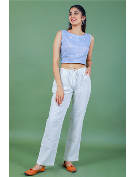 Sleeveless light blue linen blouse with back slit-RB09B-S-2-sm