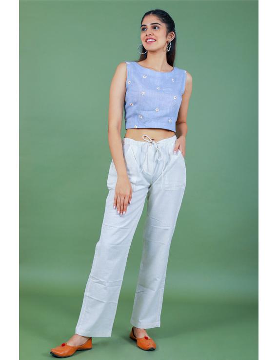 Sleeveless light blue linen blouse with back slit-RB09B-S-2