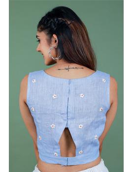 Sleeveless light blue linen blouse with back slit-RB09B-S-3-sm