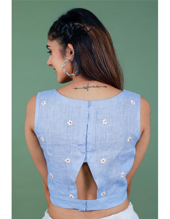 Sleeveless light blue linen blouse with back slit-RB09B-S-3
