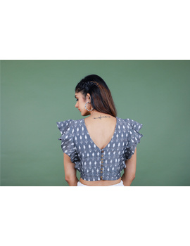 Grey ikat blouse with frill design-RB11A-XL-4-sm