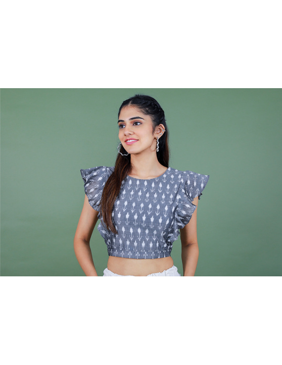 Grey ikat blouse with frill design-RB11A-XL-1
