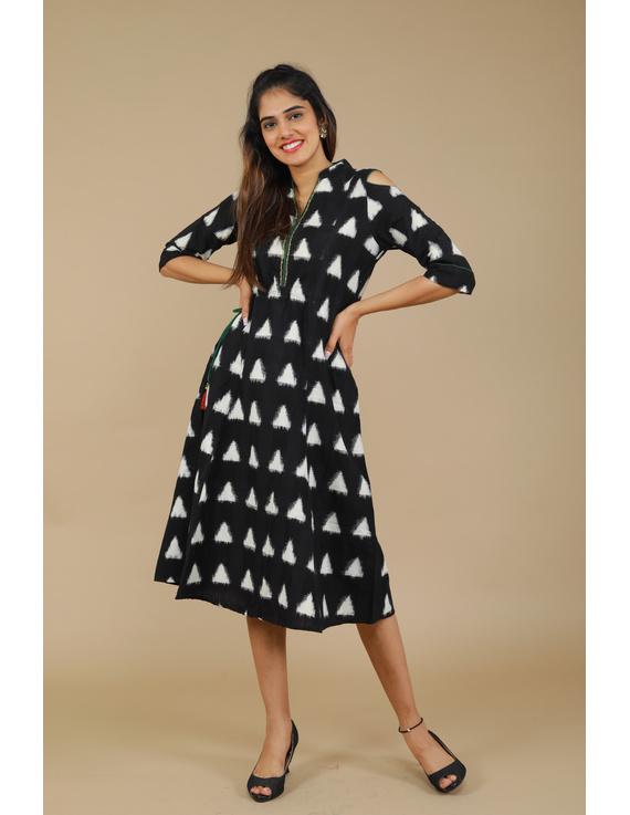 Black Ikat cold shoulder dress with drawstring waist- LD360C-LD360C-S