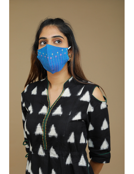 Black Ikat cold shoulder dress with drawstring waist- LD360C-S-1