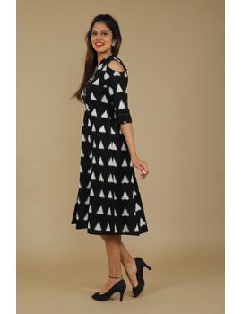 Black Ikat cold shoulder dress with drawstring waist- LD360C-S-2-sm