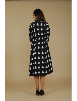 Black Ikat cold shoulder dress with drawstring waist- LD360C-S-3-sm