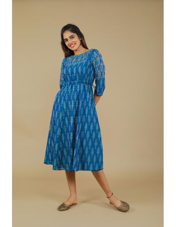 BLUE LEAF IKAT DRESS : LD390C-XL-1