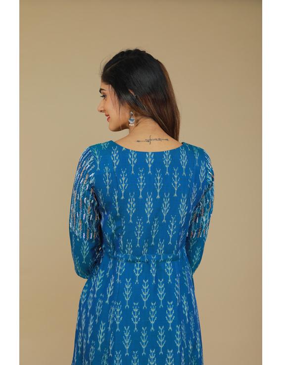BLUE LEAF IKAT DRESS : LD390C-XL-3