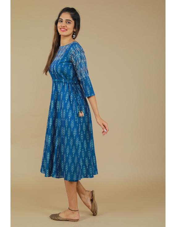 BLUE LEAF IKAT DRESS : LD390C-LD390C-XL