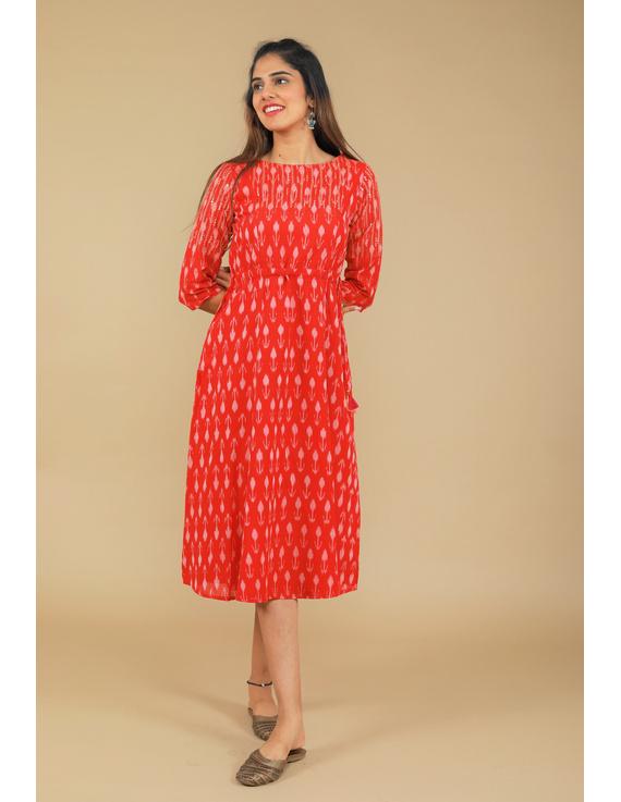 RED LEAF IKAT DRESS : LD390D-LD390D-M