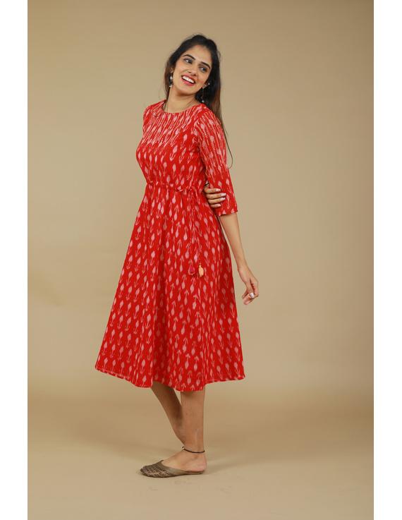 RED LEAF IKAT DRESS : LD390D-M-1