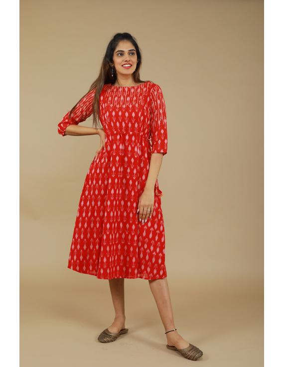 RED LEAF IKAT DRESS : LD390D-M-2