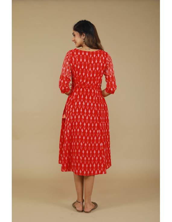 RED LEAF IKAT DRESS : LD390D-M-3