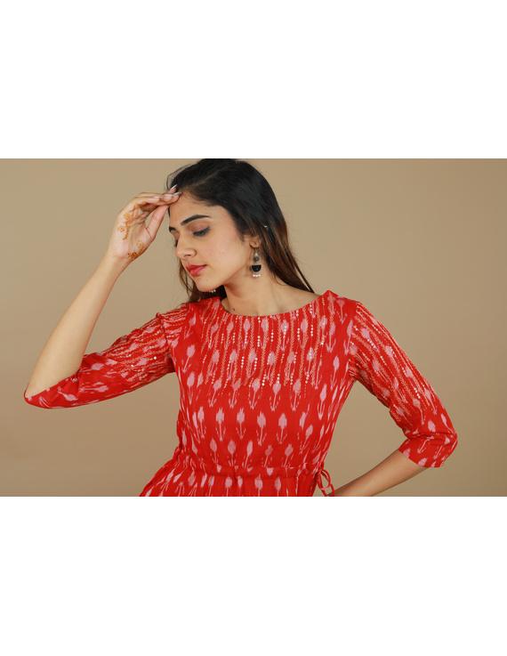 RED LEAF IKAT DRESS : LD390D-M-4