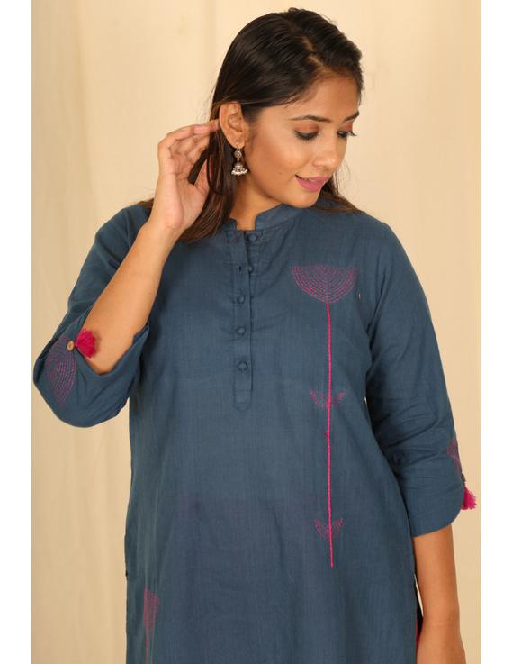 Blue Mandarin Collar Kurta With Hand Embroidery: Lk400A-M-2