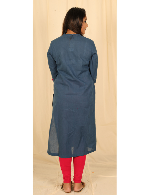 Blue Mandarin Collar Kurta With Hand Embroidery: Lk400A-M-3