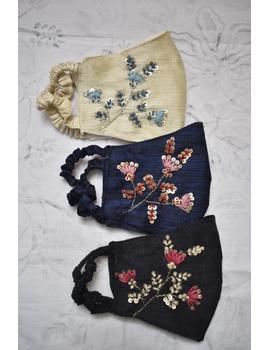 Semi silk mask with zardosi hand embroidery: ZM4-Black-1-sm