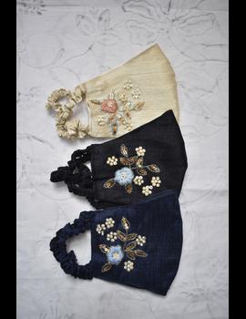 Semi silk mask with zardosi hand embroidery: ZM6-BLACK-1-sm