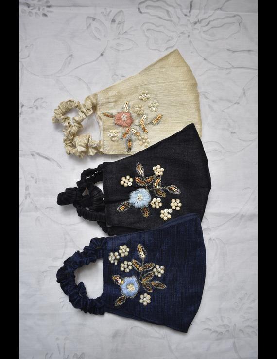 Semi silk mask with zardosi hand embroidery: ZM6-BLACK-1