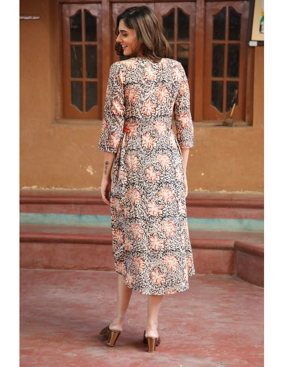 Black Floral Block Print Kalamkari Dress: Ld620A-M-4