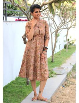 PINK KALAMKARI COLD SHOULDER DRESS: LD360A-M-3-sm