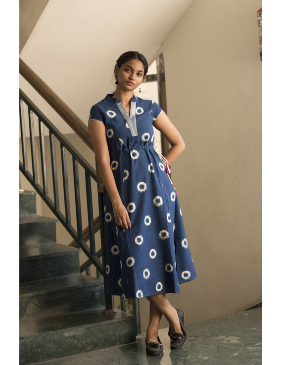 BLUE A LINE DRESS IN DOUBLE IKAT : LD350A-S-4