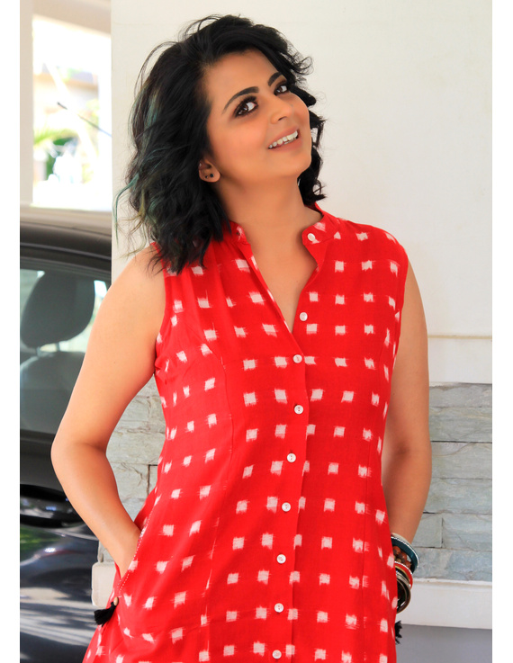 SLEEVELESS A LINE DRESS WITH EMBROIDERED POCKETS IN RED DOUBLE IKAT FABRIC: LD310A-S-4