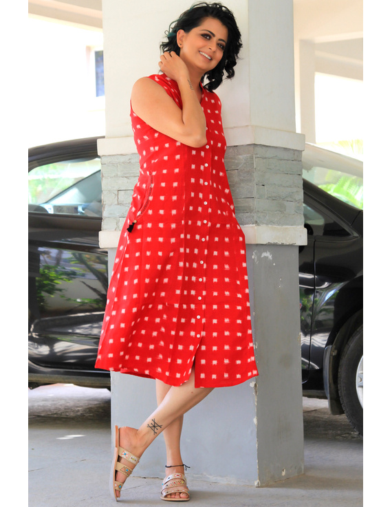 SLEEVELESS A LINE DRESS WITH EMBROIDERED POCKETS IN RED DOUBLE IKAT FABRIC: LD310A-S-5