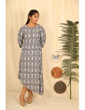 ASSYMETRIC GREY-OFFWHITE IKAT DRESS : LD450E-LD450E-L-sm