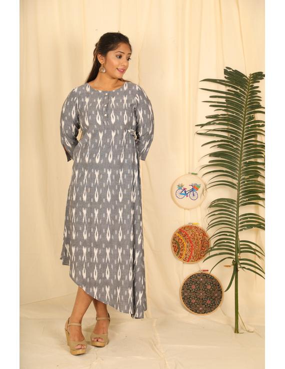 ASSYMETRIC GREY-OFFWHITE IKAT DRESS : LD450E-LD450E-L