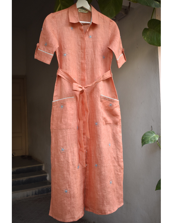 Peach linen hand embroidered dress with a collar: LD700B-S-5