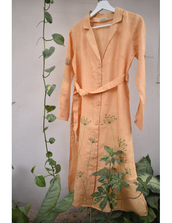 'Bloom' hand embroidered pure linen dress in yellow:LD690B-M-6