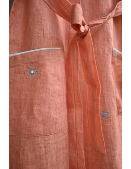 Peach linen hand embroidered dress with a collar: LD700B-S-6-sm