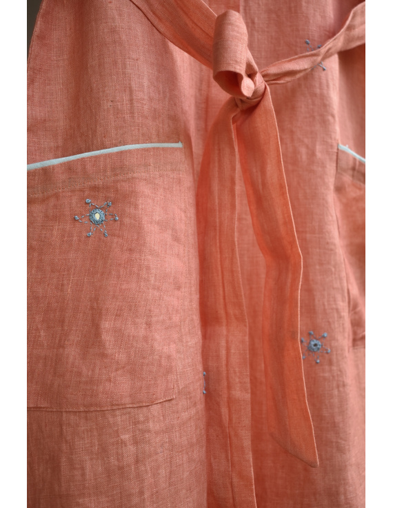 Peach linen hand embroidered dress with a collar: LD700B-S-6