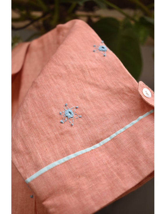 Peach linen hand embroidered dress with a collar: LD700B-S-7
