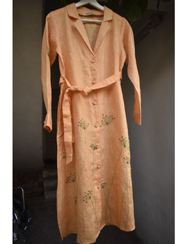 'Bloom' hand embroidered pure linen dress in yellow:LD690B-M-5-sm