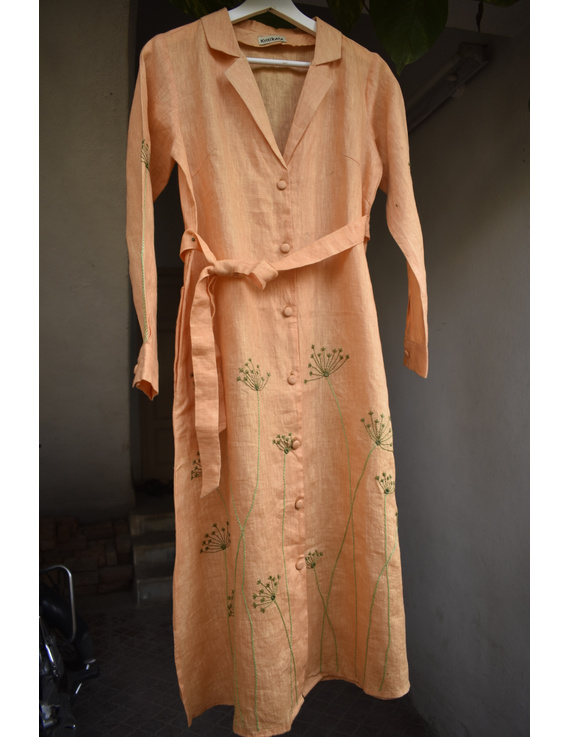 'Bloom' hand embroidered pure linen dress in yellow:LD690B-M-5