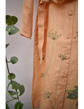 'Bloom' hand embroidered pure linen dress in yellow:LD690B-M-7-sm