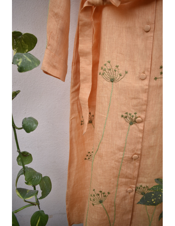 'Bloom' hand embroidered pure linen dress in yellow:LD690B-M-7