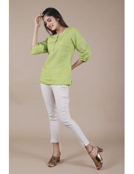 LIGHT GREEN EMBROIDERED PLACKET TUNIC IN PURE LINEN: LT130B-S-1-sm