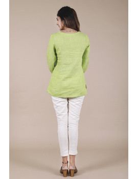 LIGHT GREEN EMBROIDERED PLACKET TUNIC IN PURE LINEN: LT130B-S-3-sm